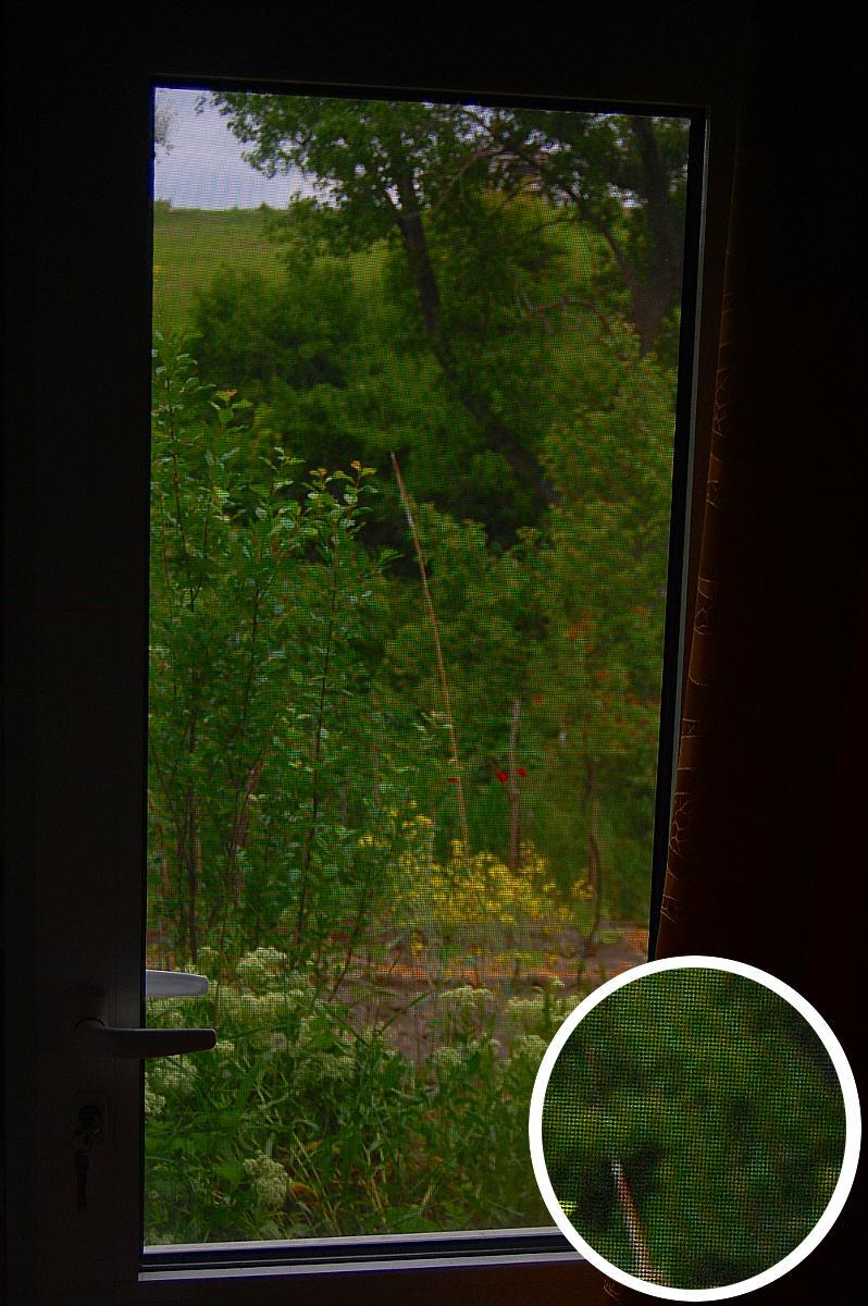 Красивый вид (видимость) через дверь с сеткой в Болгарии.